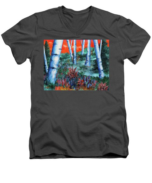 Birch Trees At Sunset Men's V-Neck T-Shirt by Curtiss Shaffer