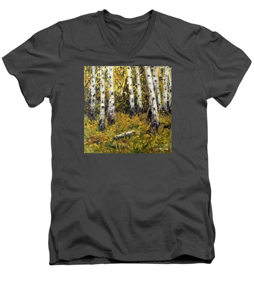 Men's V-Neck T-Shirt featuring the painting Birches by Arturas Slapsys
