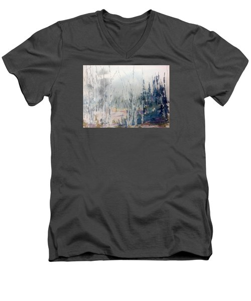 Birches In Haze  Naim's Enchatned Forest Men's V-Neck T-Shirt