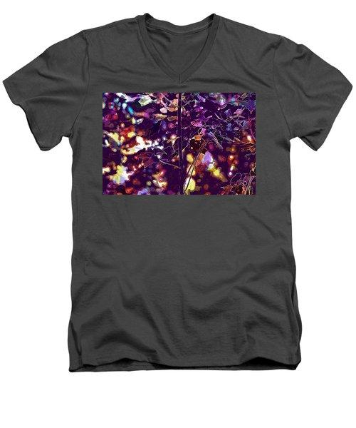 Men's V-Neck T-Shirt featuring the digital art Bird Chickadee Black  by PixBreak Art