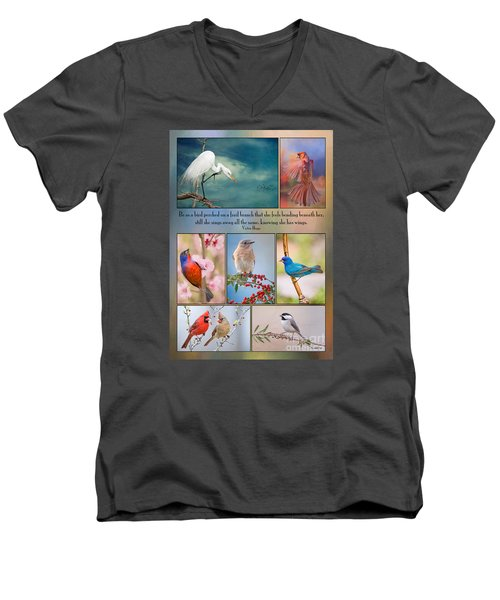 Bird Collage With Motivational Quote Men's V-Neck T-Shirt by Bonnie Barry