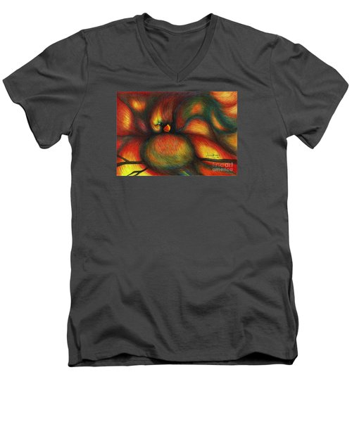 Men's V-Neck T-Shirt featuring the painting Bird by Fanny Diaz