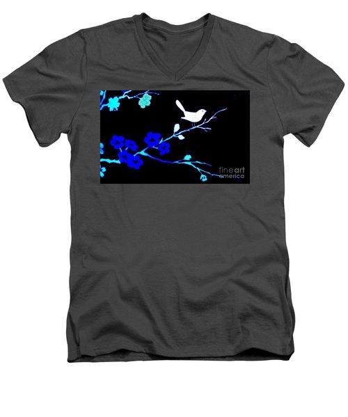 Bird In A Flower Tree Abstract Men's V-Neck T-Shirt by Marsha Heiken