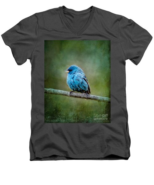 Bird In Blue Indigo Bunting Ginkelmier Inspired Men's V-Neck T-Shirt