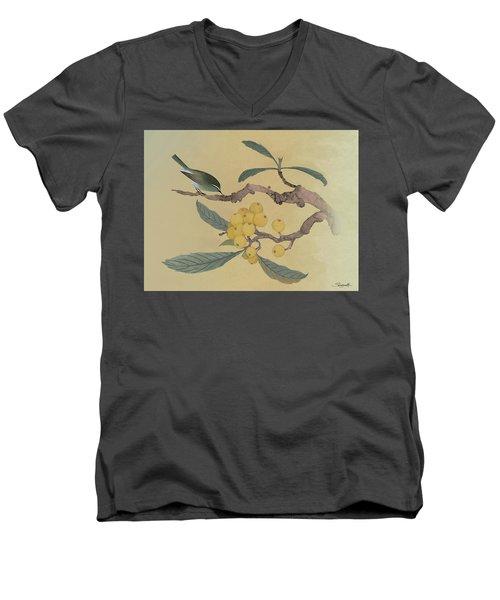 Bird In Loquat Tree Men's V-Neck T-Shirt