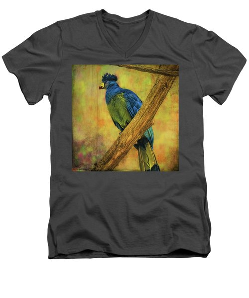 Men's V-Neck T-Shirt featuring the photograph Bird On A Branch by Lewis Mann