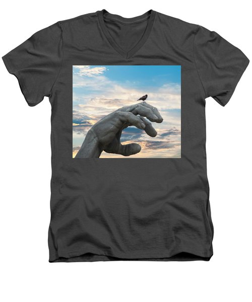 Bird On Hand Men's V-Neck T-Shirt