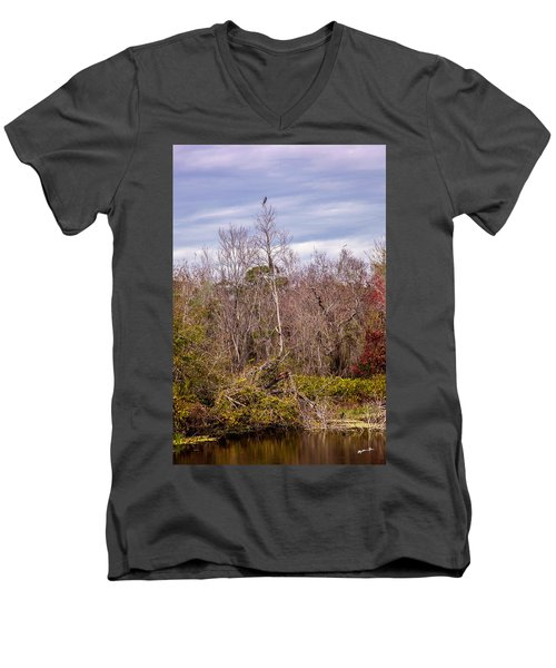 Men's V-Neck T-Shirt featuring the photograph Bird Out On A Limb 3 by Madeline Ellis