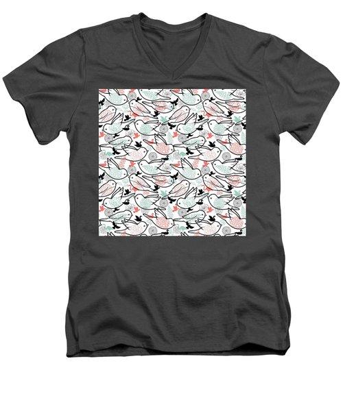 Bird Solid Men's V-Neck T-Shirt by Elizabeth Taylor
