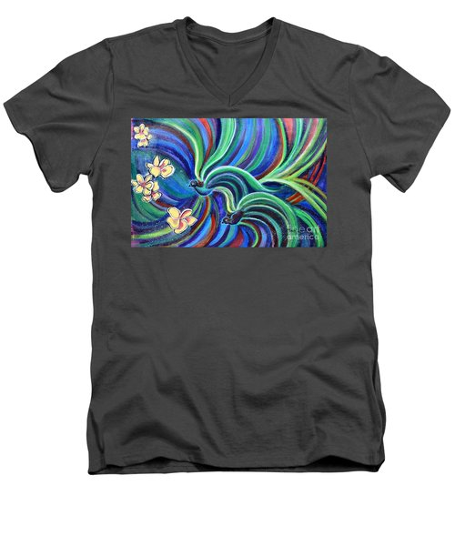 Bird Symphony With Frangipani Men's V-Neck T-Shirt