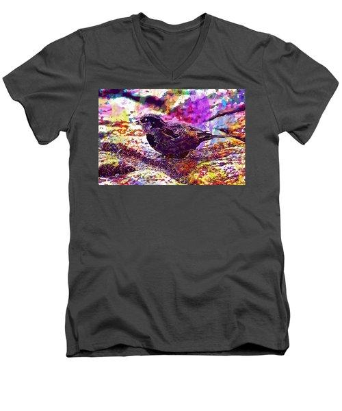 Men's V-Neck T-Shirt featuring the digital art Bird The Sparrow Nature Pen  by PixBreak Art
