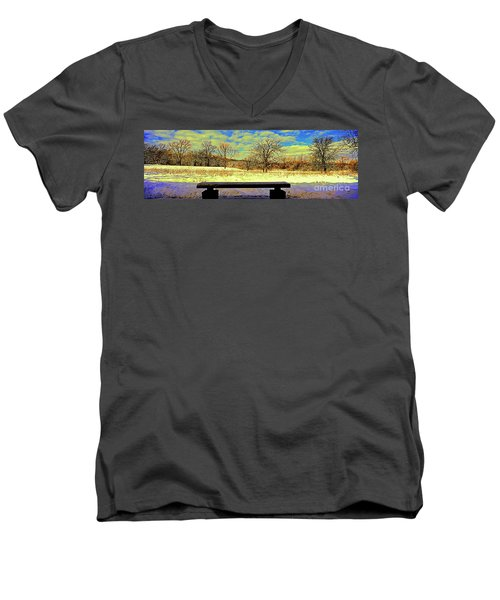 Bird Watchers Bench Winter Crabtree Nature Center Cook County Il Men's V-Neck T-Shirt