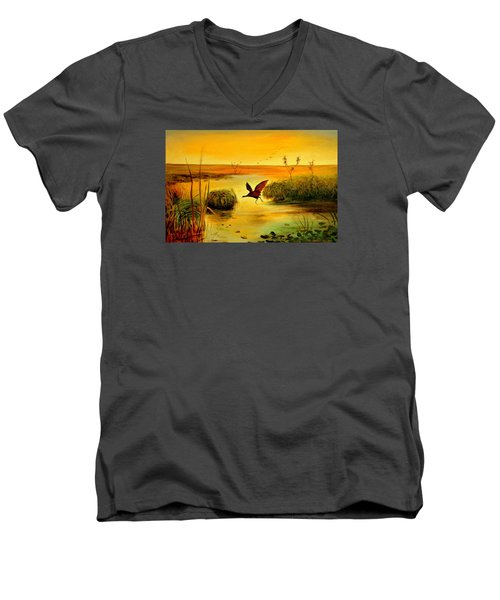 Men's V-Neck T-Shirt featuring the painting Bird Water by Henryk Gorecki