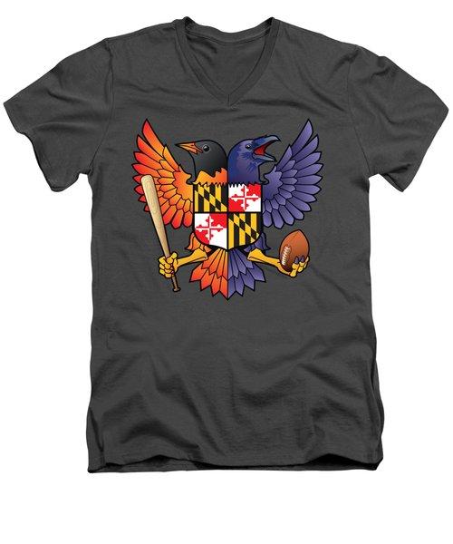 Birdland Baltimore Raven And Oriole Maryland Shield Men's V-Neck T-Shirt