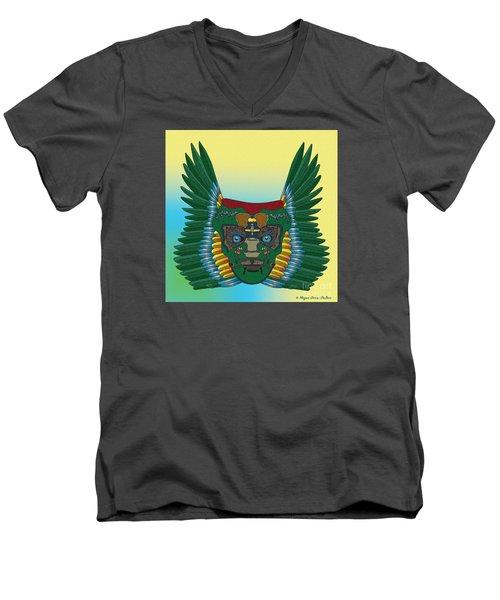 Men's V-Neck T-Shirt featuring the digital art Birdman Mask by Megan Dirsa-DuBois