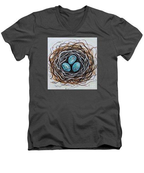 Birdnest Botanical Study Men's V-Neck T-Shirt by Elizabeth Robinette Tyndall