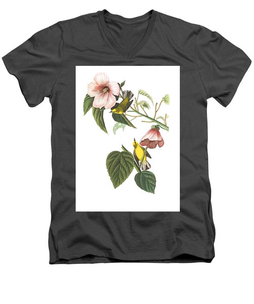 Men's V-Neck T-Shirt featuring the photograph Birds Chat by Munir Alawi