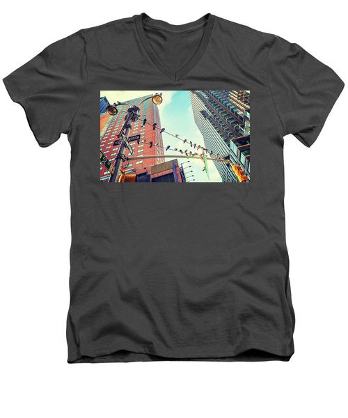 Birds In New York City Men's V-Neck T-Shirt