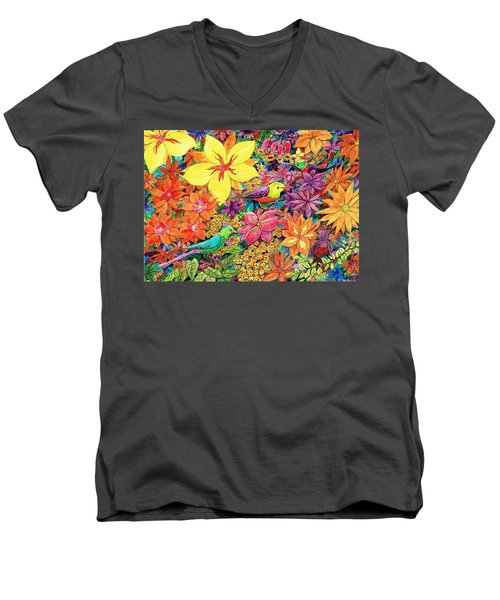 Birds In Paradise Men's V-Neck T-Shirt by Charles Cater