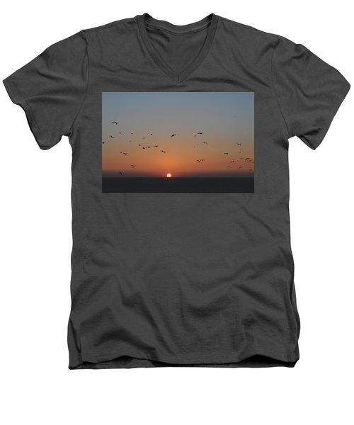 Birds In Sunset Men's V-Neck T-Shirt by Haleh Mahbod