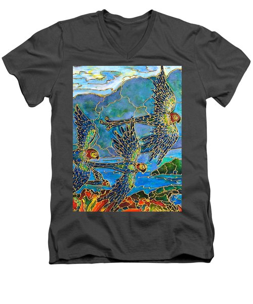 Men's V-Neck T-Shirt featuring the painting Birds Of Paradise by Rae Chichilnitsky