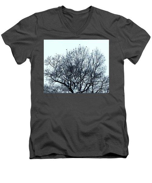 Birds On The Tree Monochrome Men's V-Neck T-Shirt