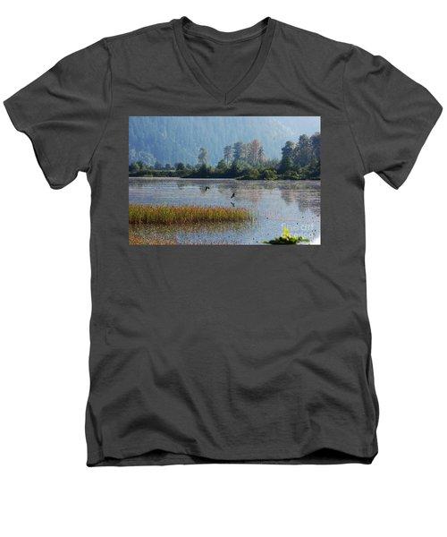 Birds Paradise Men's V-Neck T-Shirt by Victor K