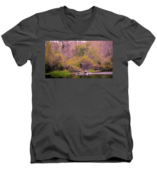 Men's V-Neck T-Shirt featuring the photograph Birds Playing In The Pond 2 by Madeline Ellis