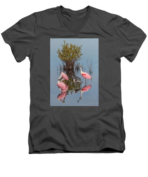 Birds, Reflections, And Mangrove Bush Men's V-Neck T-Shirt