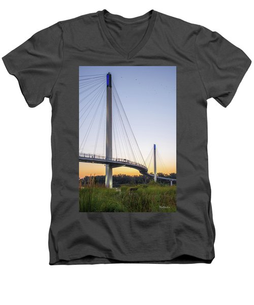 Birds Soaring Over Bob Kerry Bridge Men's V-Neck T-Shirt