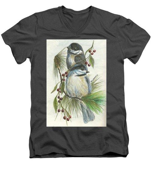 Birds Two And Fir Tree Men's V-Neck T-Shirt