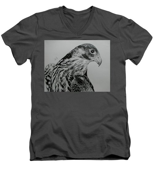 Men's V-Neck T-Shirt featuring the drawing Birdy by Melita Safran