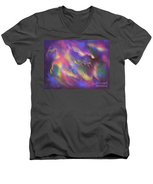 Birth Of The Phoenix Men's V-Neck T-Shirt by Amyla Silverflame