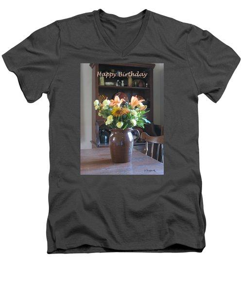 Birthday Jug Of Flowers Men's V-Neck T-Shirt by Deborah Dendler
