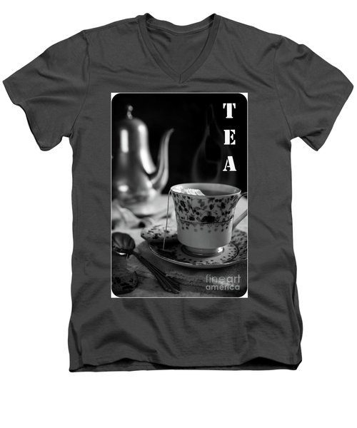 Men's V-Neck T-Shirt featuring the photograph Biscotti And Tea by Deborah Klubertanz