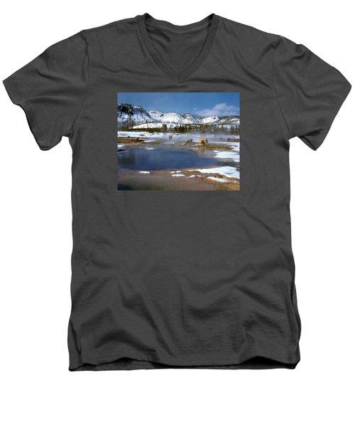 Biscuit Basin Elk Herd Men's V-Neck T-Shirt