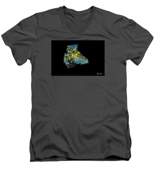 Men's V-Neck T-Shirt featuring the photograph Bismuth Crystal by Rikk Flohr