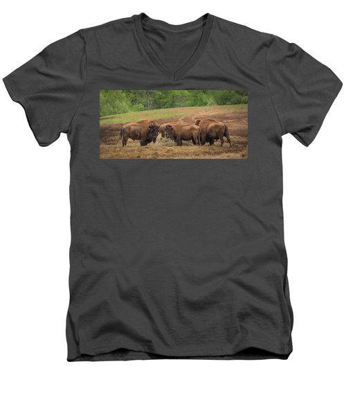 Men's V-Neck T-Shirt featuring the photograph Bison 2 by Joye Ardyn Durham