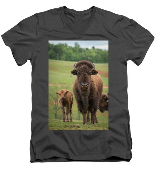 Men's V-Neck T-Shirt featuring the photograph Bison 4 by Joye Ardyn Durham