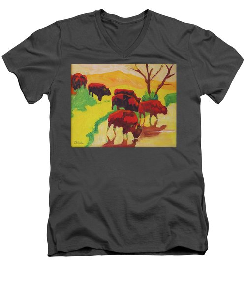 Men's V-Neck T-Shirt featuring the painting Bison Art Bison Crossing Stream Yellow Hill Painting Bertram Poole by Thomas Bertram POOLE