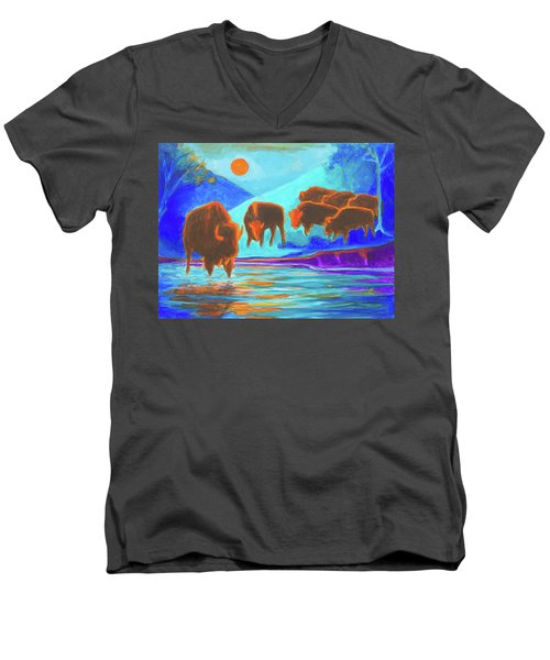 Men's V-Neck T-Shirt featuring the painting Bison Art - Seven Bison At Sunrise Yosemite Painting T Bertram Poole by Thomas Bertram POOLE
