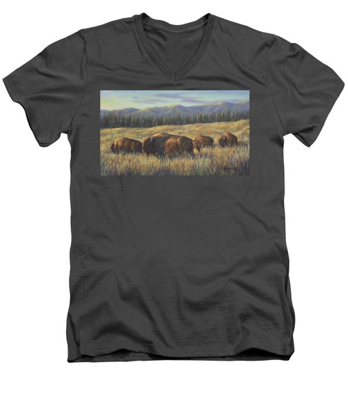 Men's V-Neck T-Shirt featuring the painting Bison Bliss by Kim Lockman