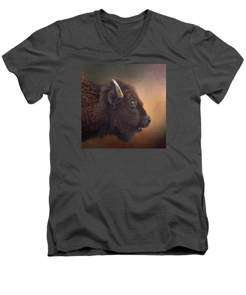 Bison Men's V-Neck T-Shirt by David and Carol Kelly