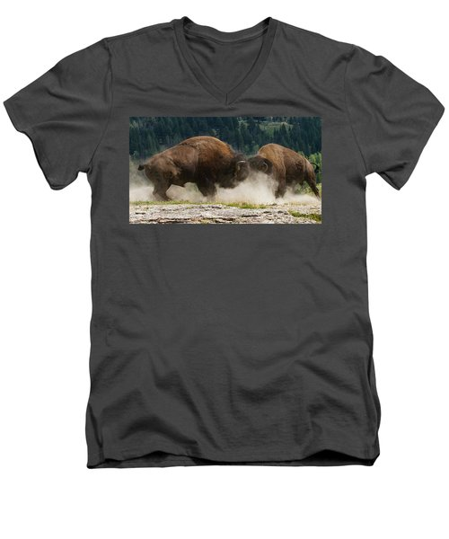 Bison Duel Men's V-Neck T-Shirt