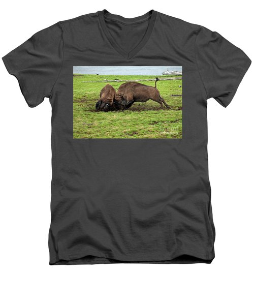 Bison Fighting Men's V-Neck T-Shirt by Cindy Murphy - NightVisions