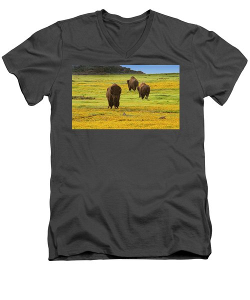 Bison In Wildflowers Men's V-Neck T-Shirt