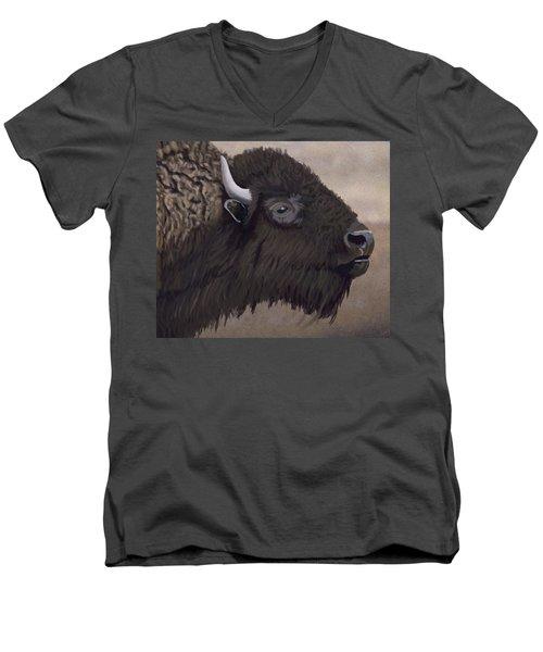 Bison Men's V-Neck T-Shirt by Jacqueline Barden