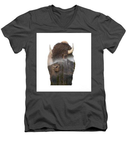 Bison Mountain  Men's V-Neck T-Shirt