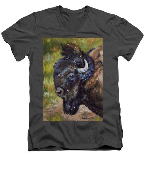 Bison Study 5 Men's V-Neck T-Shirt