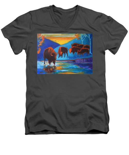 Men's V-Neck T-Shirt featuring the painting Bison Turquoise Hill Sunset Acrylic And Ink Painting Bertram Poole by Thomas Bertram POOLE